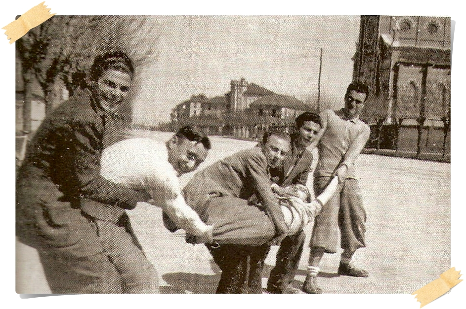 1941. Il tiro alla fune - La fune è W. Colli, gli altri sono F. Piccione, G. Nava, L. Accornero, S. Bagliani e M. Orsini.