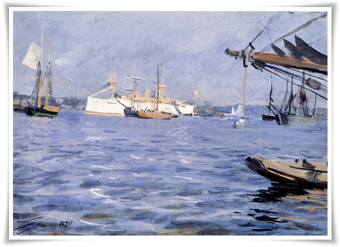 Anders Zorn (1860-1920) The Battleship Baltimore In Stockholm Harbor Gouache, 1890 8 5/8 x 11 3/4 inches (22 x 30 cm) Private collection