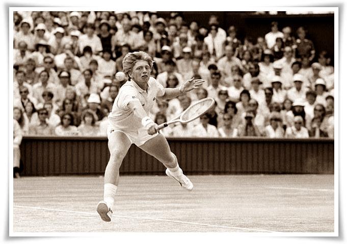 Boris Becker in azione a Wimbledon